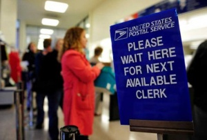 stuck in line with conspiracy theorist day post office line