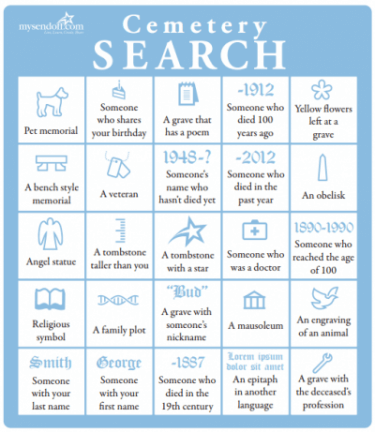 visit a cemetery day search card
